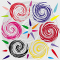 Whorl and colored shapes Stock Photos