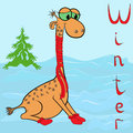 Why giraffe is so cold in winter cheerful wrapped a scarf on neck on the background of a landscape hand drawing Stock Photos