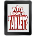 Why use a tablet computer mobile notepad device the words on wireless for and portable computing using apps reading e books Royalty Free Stock Photos