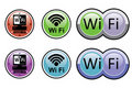 Wi fi buttons - stickers Stock Photo