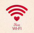 Wi-fi red icon with heart shape as point access. free wifi conne