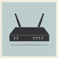 Wi fi router on retro background vector blue Stock Image