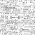 Wi fi seamless pattern word cloud illustration Stock Photos