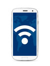 Wi fi touch screen phone icon on cut out from white Stock Photography