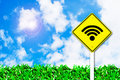 Wi-fi wireless internet sign on beautiful sky Royalty Free Stock Images