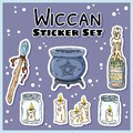 Wiccan stickers set. Collection of witchcraft labels. Witch symbols: cauldron, wand, candles