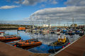 Wick harbour boats in caithness scotland Stock Photography