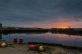 Wick harbour sunrise in caithness scotland Stock Photo
