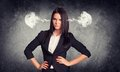 Wicked woman with steam from ears concrete gray wall fissure in suit Royalty Free Stock Image