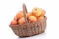 Wicker basket with apple Royalty Free Stock Photo