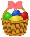 Wicker basket with colored Easter Eggs Royalty Free Stock Photography