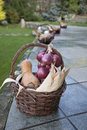Wicker basket with corn nuts pumpkin and onion on a stone wall Royalty Free Stock Photo