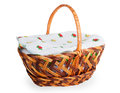 Wicker basket covered with a towel Royalty Free Stock Photo