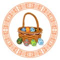 Wicker basket with Easter eggs inside and out isolated on a white background. Circular pattern.