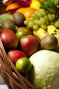 Wicker basket with fruit and vegetables a large full of assorted Royalty Free Stock Photos