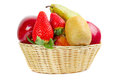 Wicker basket fruits white Stock Image