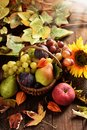 Wicker basket full of autumn fruits Royalty Free Stock Photo