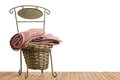 Wicker basket full of clean towels Royalty Free Stock Photo