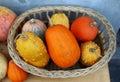 Wicker basket full of pumpkin Stock Image