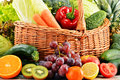 Wicker basket with groceries balanced diet Stock Images