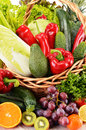 Wicker basket with groceries balanced diet Stock Image