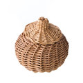 Wicker basket isolated on white background Stock Photos