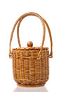 Wicker basket isolated on a white background Royalty Free Stock Image