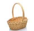 Wicker Basket on White Stock Image