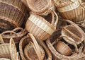 Wicker baskets and boxes on outdoor market stall Royalty Free Stock Photo