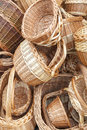 Wicker baskets and boxes on outdoor market stall Royalty Free Stock Photography