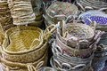 Wicker baskets with colorful patterns in the Eastern market Royalty Free Stock Photo