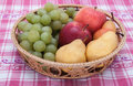 Wicker baskets with fruit Royalty Free Stock Photo