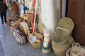Wicker baskets a lot of in market place Royalty Free Stock Photo