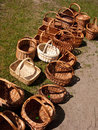 Wicker baskets for sale Royalty Free Stock Photo