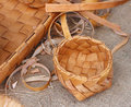 Wicker bowl made of birch bark and a pieces Stock Photos