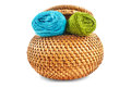 Wicker box of yellow color with dark blue and green thread Royalty Free Stock Photo