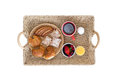 Wicker Breakfast Tray on White Background Royalty Free Stock Photo