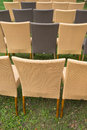 Wicker chair row of outdoor Royalty Free Stock Images