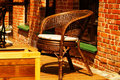 Wicker chair sidewalk cafe Royalty Free Stock Photo