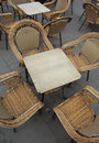 Wicker Chairs and Tables Stock Image