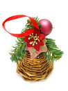 Wicker Christmas decoration with purple bauble Royalty Free Stock Image
