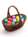 Wicker Easter Basket with colorful eggs 1