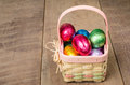 Wicker Easter basket with foil eggs Stock Images