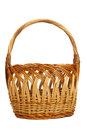 Wicker easter basket on white background Stock Photography