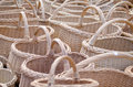 Wicker handmade wooden diy basket street market closeup of with handle sell in outdoor city fair Royalty Free Stock Image