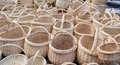 Wicker handmade wooden diy basket street market with handle sell in outdoor city fair Stock Photography
