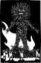 Wicker man woodcut style expressionist image of pagan celtic bonfire and sacrifice Stock Photos
