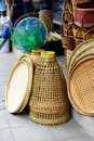 Wicker market Rattan basket.Rattan or bamboo handicraft hand made from natural straw basket. Royalty Free Stock Photo