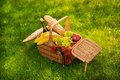 Wicker picnic basket with fresh fruits, wine bottle, baguette and plaid on green meadow