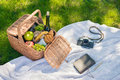 Wicker picnic basket with fruits and wine, vintage camera and notebook with pencil Royalty Free Stock Photo